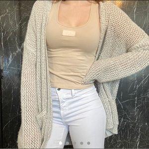 Garage Beige knit long sleeved Cardigan